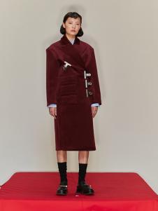 SHUSHU/TONG 女装酒红色时尚大衣