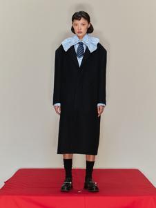 SHUSHU/TONG 女装黑色拼接大衣