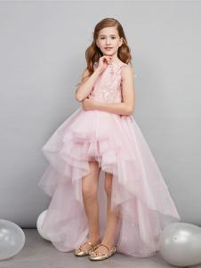 爱安玖童装粉色不规则女裙