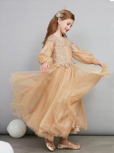 爱安玖童装黄色网纱女裙