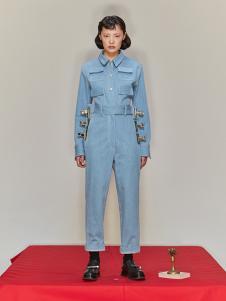 SHUSHU/TONG 女装蓝色牛仔连体衣