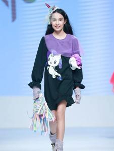 创孩儿童装黑紫拼接女裙