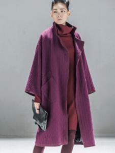 对话框女装紫色长款大衣