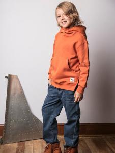 AKCLUBKIDS童装橘红色卫衣