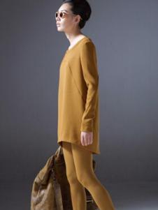 对话框女装黄色休闲套装