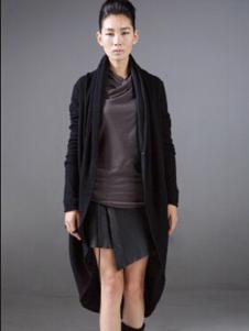 对话框女装黑色长款外套