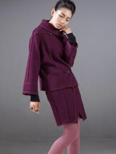 对话框女装紫色休闲套装裙