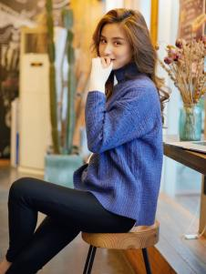 红雨鸶秋冬新款蓝色卫衣