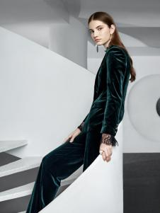 奥伦提女装oritick奥伦提2018丝绒通勤套装