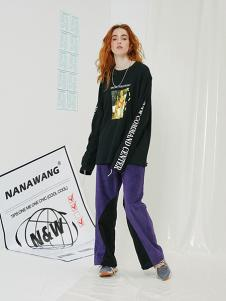 NANAWANG女裝黑色印花字母T恤