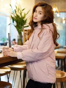 红雨鸶秋冬新款藕粉色羽绒服