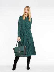 MARELLA女装绿色小圆点连衣裙
