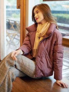 红雨鸶秋冬新款酒红色羽绒服
