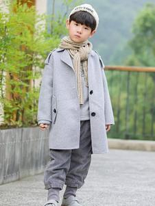 琦瑞德泽灰色休闲风衣外套