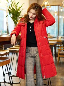 红雨鸶秋冬新款红色羽绒服