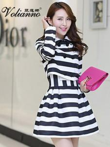 葳莲娜女装黑白条纹连衣裙