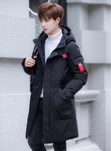 禹宾2018男士冬季黑色中长款休闲羽绒服