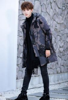 禹宾2018男士冬季印花中长款羽绒服