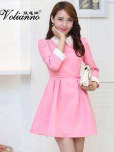 葳莲娜女装粉色甜美连衣裙