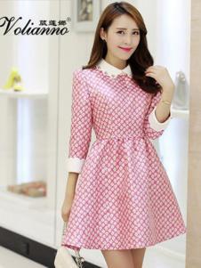 葳莲娜女装粉色时尚连衣裙
