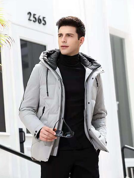 凯帝龙驰男装灰色短款羽绒服