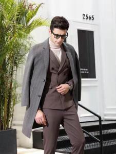 凯帝龙驰男装灰色商务大衣