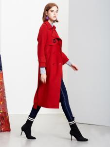 2018樊羽女装红色大衣