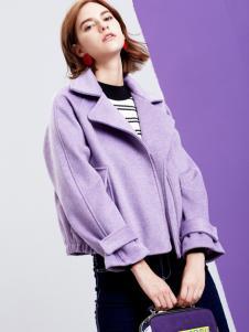 2018樊羽女装紫色短款外套