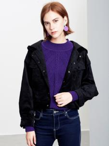 2018樊羽女装黑色短款外套