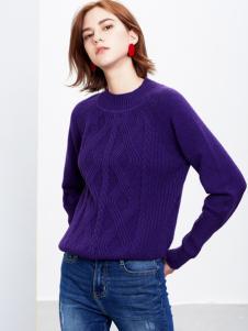 2018樊羽女装紫色毛衣