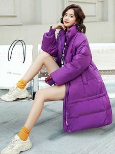 2018搜美女装紫色羽绒服