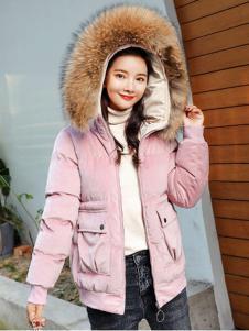 2018搜美粉色短款羽绒服