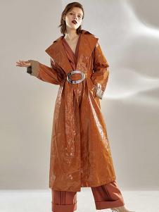 昧宴女装棕色休闲风衣