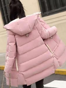 2018搜美女装粉色韩版羽绒服