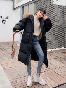 2018搜美女装黑色韩版羽绒服