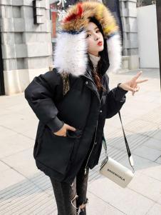 2018搜美女装黑色毛领羽绒服