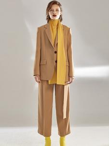 昧宴女装黄色休闲西装套装