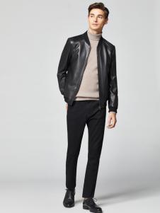 2018杉杉男装黑色皮夹克