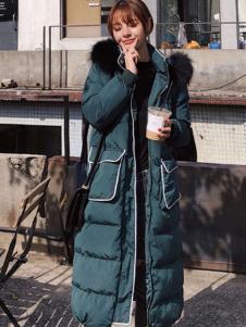 2018搜美女装墨绿色长款羽绒服