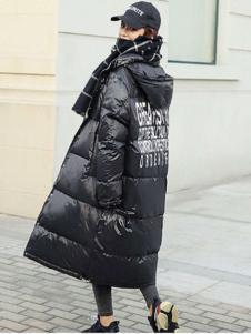2018搜美女装黑色长款羽绒服