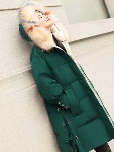 2018搜美墨绿色时髦羽绒服