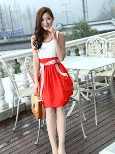 宝纱女装红白拼接连衣裙