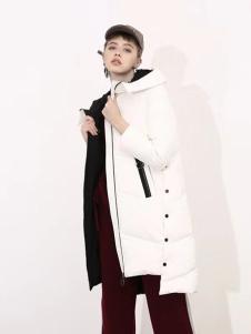 播写女装白色不规则棉服
