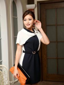 宝纱女装黑白拼接连衣裙