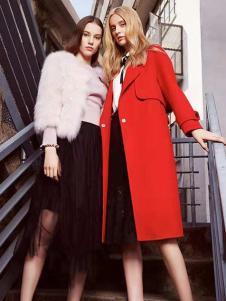 播写女装红色时尚大衣
