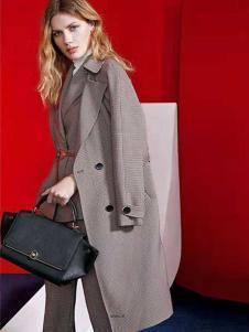播写女装灰色双排扣大衣