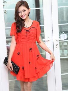 宝纱女装红色小蝴蝶结连衣裙