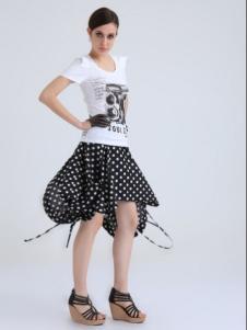 简索女装白色印花修身T恤
