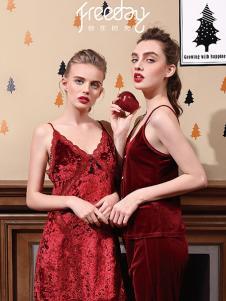 自在时光女式红色睡裙