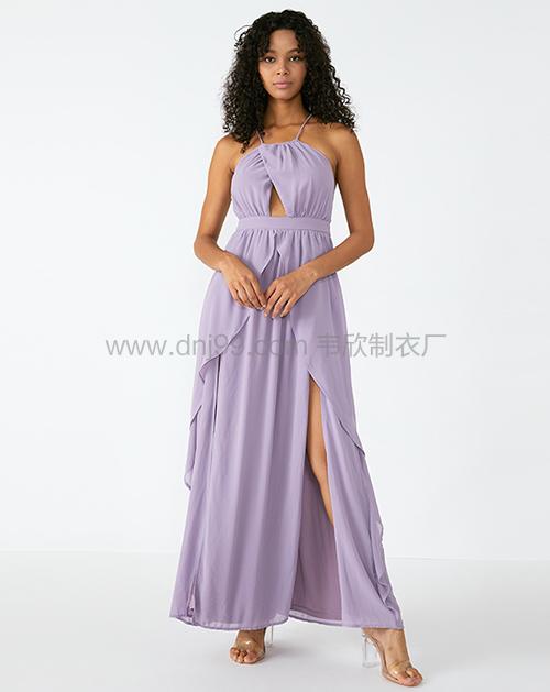 女式紫色挂脖连衣裙一手货源